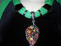 Women's Long Green Jewelry Scarf Adorned With Red Amber Dark Green Leaf