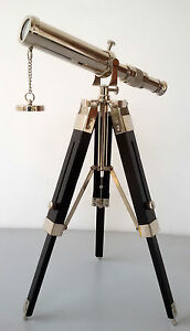NAUTICAL DECORTIVE BRASS TELESCOPE WITH TRIPOD STAND TABLE DESKTOP TELESCOPE