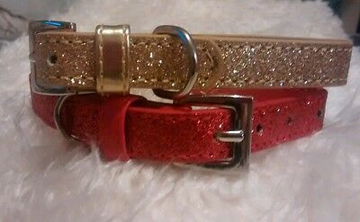 Faux Leather Glitter Finish Dog Collars Red or Gold Small Medium