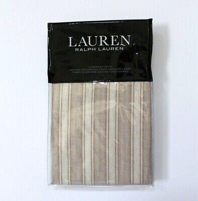 "Ralph Lauren Graydon Bold Stripe 26"" x 26"" Euro Sham In Dune /& Linen NWT"