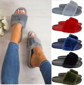 LADIES WOMENS CELEBRITY STYLE FLUFFY FAUX FUR SLIDERS SLIPPERS FLIP FLOP SHOE W