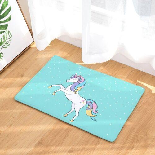 Unicorn Alfombra de Baño Impreso Gamuza Alfombra de Baño Inodoro Alfombra Antideslizante Alfombra