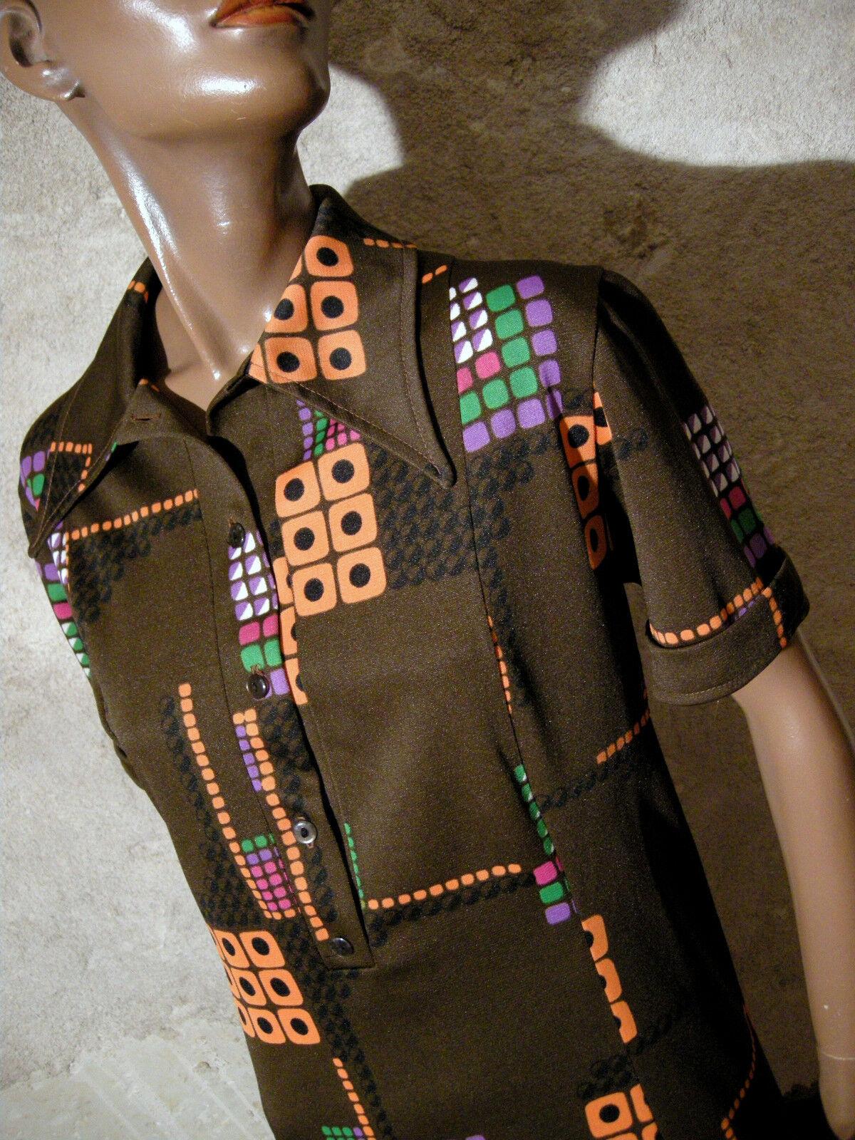 Schick Vintage Kleid 1970 Vtg 1970s Modell Grafik 70er Kleidung Retro (44)