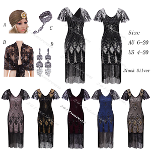 1414148f Image is loading Vintage-Charleston-1920s-Flapper-Dress-Great-Gatsby-20s-