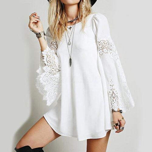Women/'s Long Bell Sleeve Lace Crochet Long Shirt Dress Summer Party Mini Dress