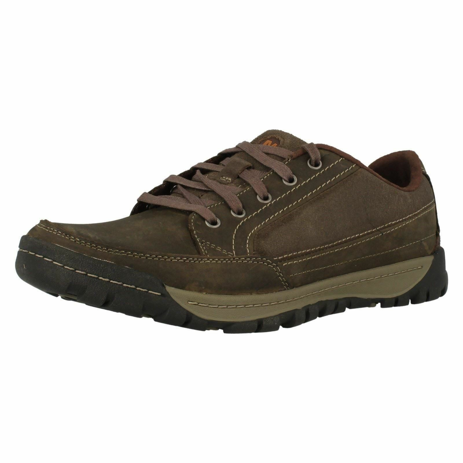 Mens Merrell Traveler Sphere Falcon, Espresso Or Black Leather Lace Up Trainers