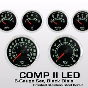 C2-60s-Muscle-6-Gauge-Set-Stainless-Bezels-0-90-Ohm-Fuel-Level-2964SS