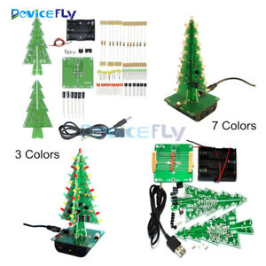 DIY 3D Christmas Kit Flashing Light LED Circuit 3/7 Colors Xmas Tree Gift