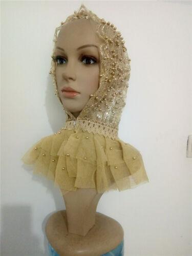 Muslim Women Gold Bling Beaded Cap Lace Headscarf  Wrap Turban Wedding Hat HIjab