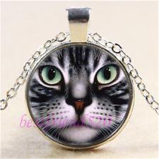 Black Cat Face Photo Cabochon Glass Tibet Silver Pendant Necklace#I40