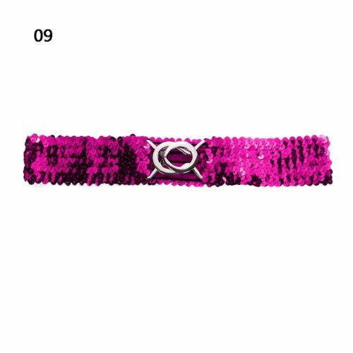 Lady Elastic Buckle Girdle Belt Circular Ring Sequins Waistband Clothing Decor