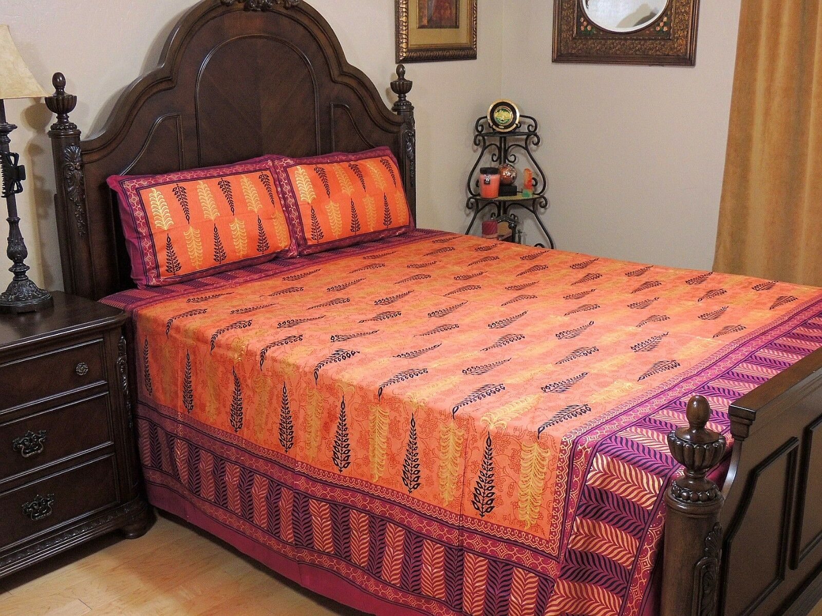 Orange Mulberry Cotton Bedspread Pillow Shams Indian Luxury Queen Bedding Sheet