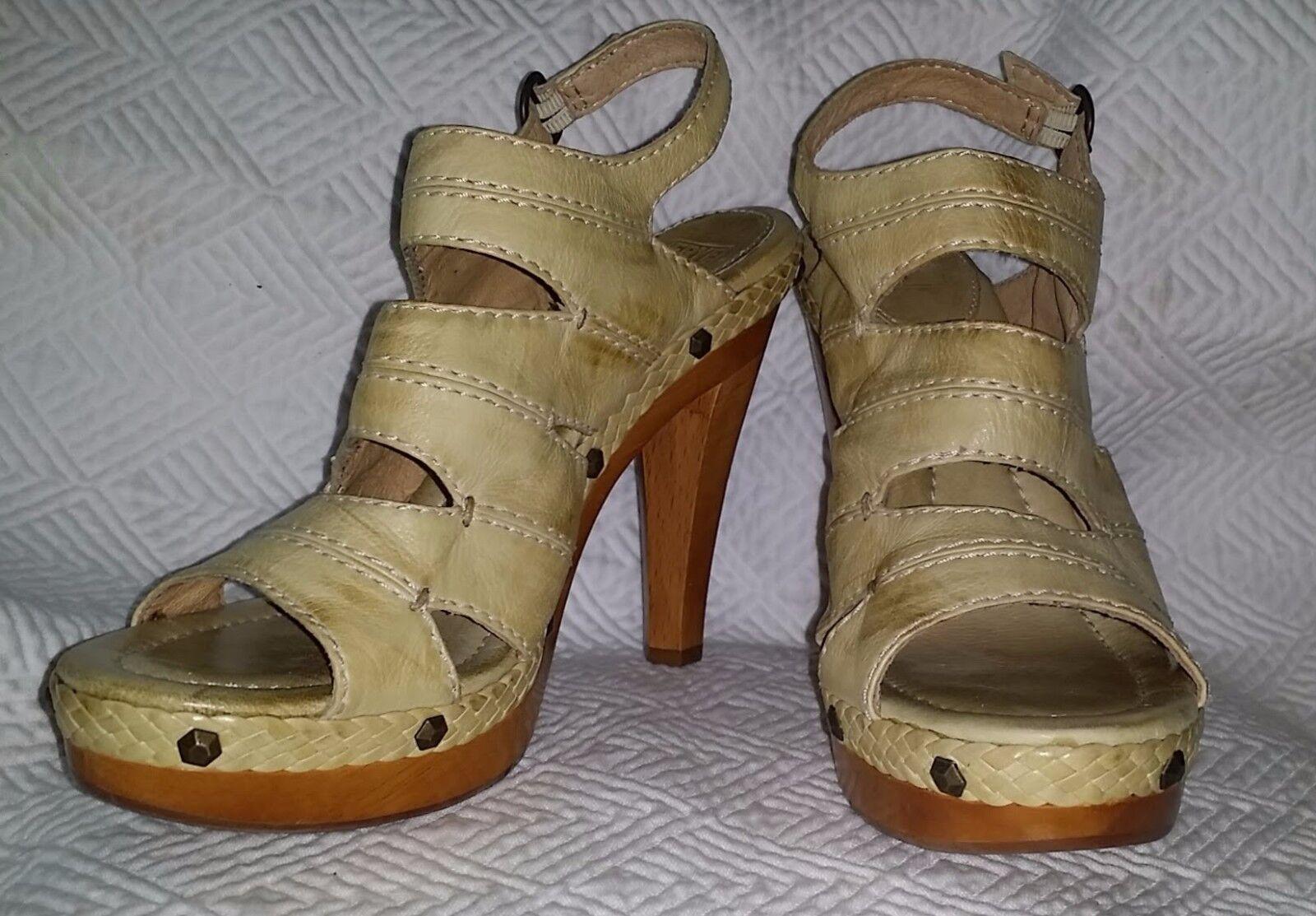 FRYE Dara Campus Stitch US 10 Antiqued Natural Leather talons hauts Sandals UNWORN