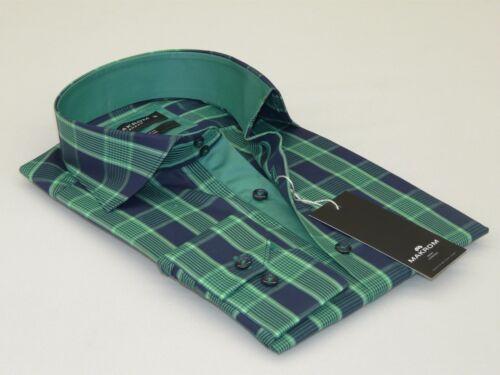 Men/'s Makrom London Shirt 100/% Egyptian Cotton High Collar Plaid #558-427 Green