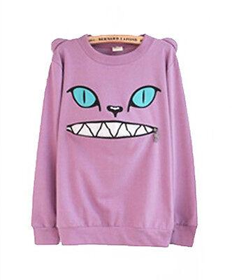 Zip Smile Mouth Shoulder 3D Ear Cat Jumper Sweater Long Sleeve Hoodie Sweatshirt