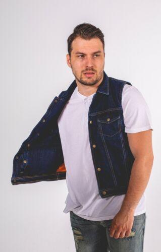 Men's Denim Club Style Vest Concealed Inside Gun Pockets Motorcycle Biker Vest