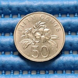 1998-Singapore-50-Cents-Yellow-Allamanda-Flower-Coin