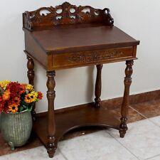 International Caravan Small Carve Writing Desk, Brown