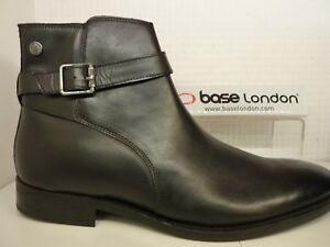 fb6fdbdf7b1 Details about Base London Fern Waxy Black Leather Mens Ankle Buckle Zip  Boot Shoe