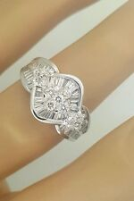 NEW 18K WHITE GOLD ROUND & BAGUETTE CUT DIAMOND LADIES SPIRAL DESIGNER RING 7