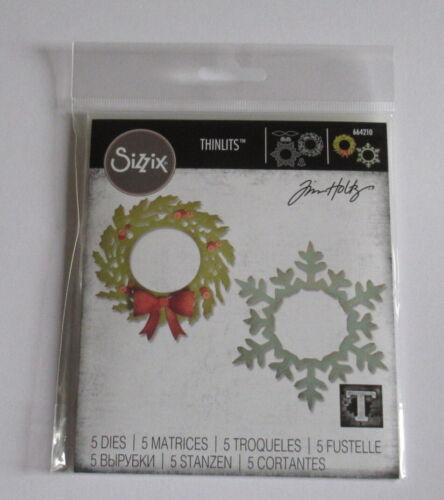 664210 Wreath /& Snowflake New Sizzix Thinlits Tim Holtz Die Set