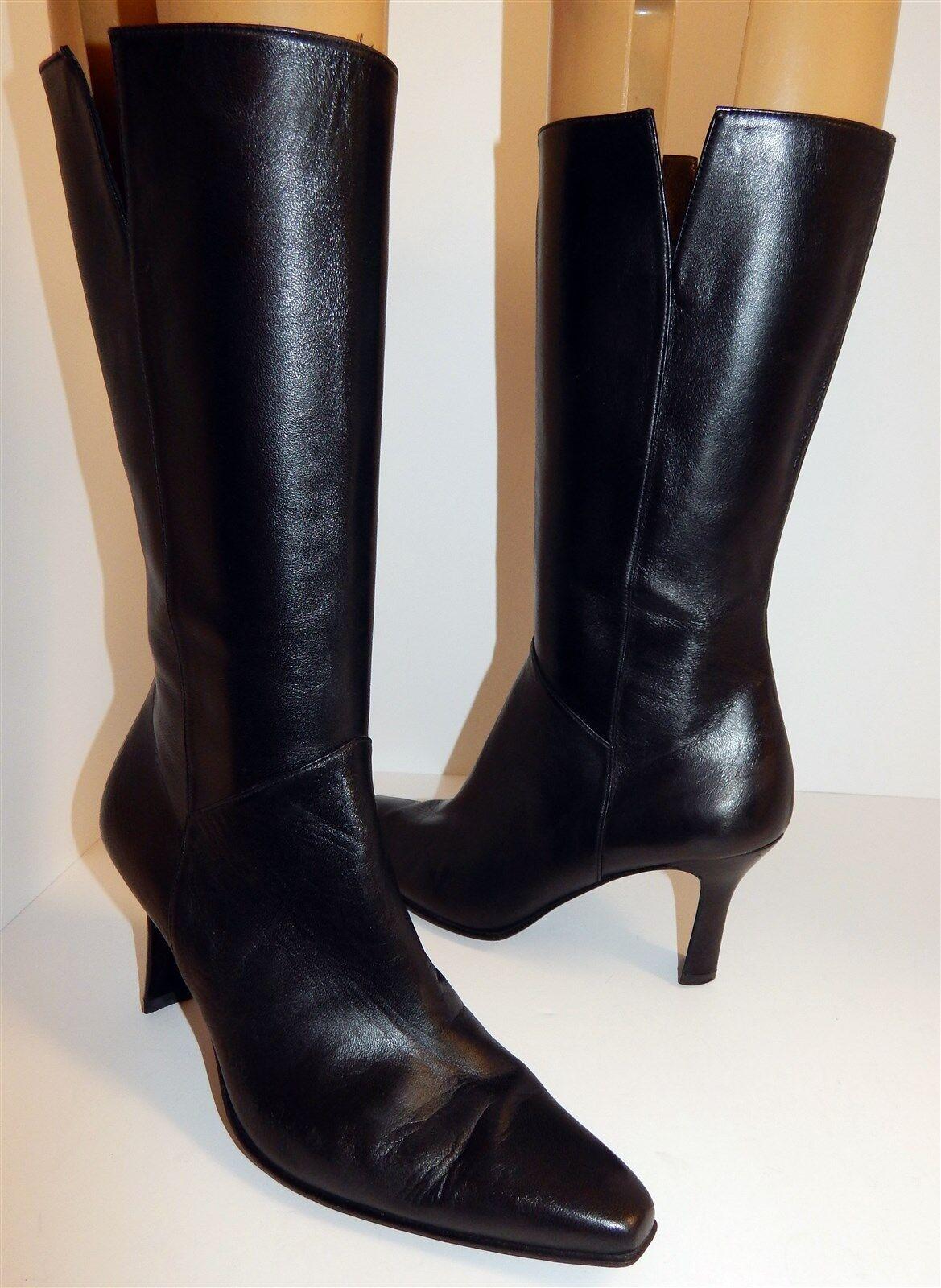 Stuart Weitzman Black Black Black Leather Zip Fashion Boots 7.5 M 200569