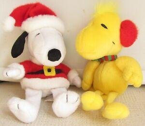 "Hallmark SNOOPY Christmas Santa And WOODSTOCK Plush Beanies 7 1/2"" with Tags"