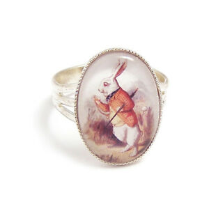 The-white-rabbit-ring-alice-in-wonderland-I-039-M-LATE-silver-fairytale-adjustable
