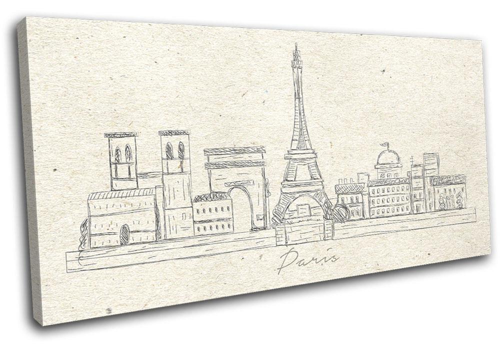 Paris Landmarks City Illustration SINGLE TOILE murale ART Photo Print