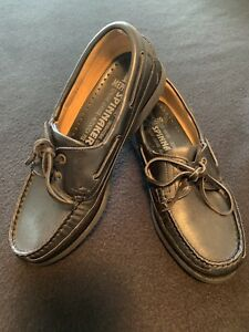 e54c55b6e8 Mephisto Spinnaker Black Leather Mens Boat Shoes 7.5 Made Portugal ...