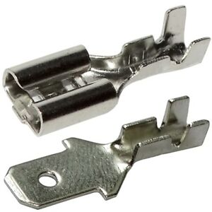 Aerzetix 100x Cosses /électriques femelle plate 4.8mm 0.8mm 0,5-1mm2