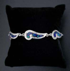 VTG-Sterling-Silver-TAXCO-Azurite-Inlay-Textured-Paisley-Link-Bracelet-7-25-034