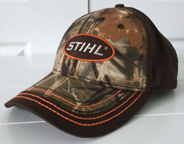 Stihl Realtree Max-4 Camo /& Brown Hat Cap w Orange Stitching /& Embroidered Logo