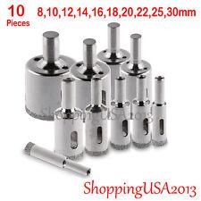 10 pcs 8-30mm Diamond Coated tool drill bit hole saw cutter set glass marble**