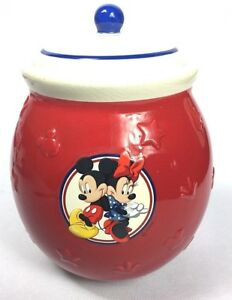 Disney Cookie Jars 1968 Now For Sale Ebay >> Details About Disney Minnie Mickey Mouse Ceramic Cookie Jar Canister With Lid 7