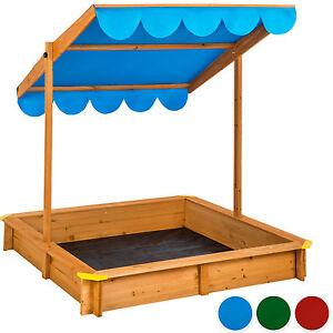 Detalles de Arenero con techo regulable cajón de arena jardín juego para  niños madera