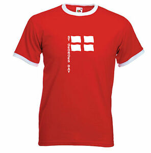 NEW-ST-GEORGE-039-S-DAY-FLAG-POLE-T-SHIRT-RED-RINGER-S-M-L-XL-XXL