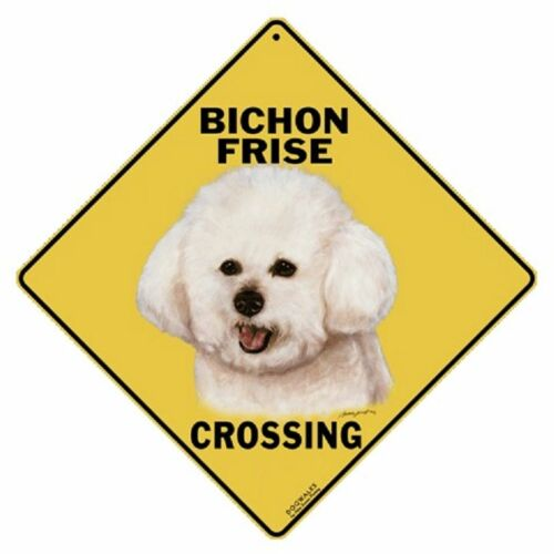 "Bichon Frise Dog Metal Crossing Sign 16 1//2/"" x 16 1//2/"" Diamond shape Made in USA"