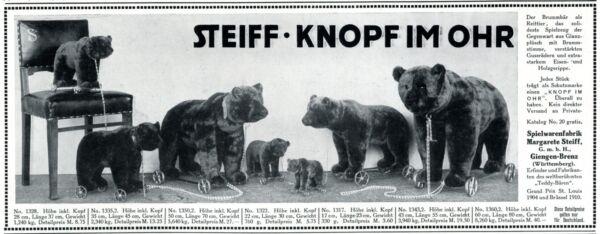 2019 Mode Steiff Bärenfamilie Reklame 1913 Bär Teddybär Brummbär Werbung