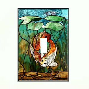 Koi fish light switch plate wall cover tropical decor ebay for Koi fish wall decor