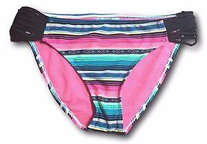 SO-Juniors-Size-XS-S-L-XL-Bright-Pink-Striped-Tribal-Print-Bikini-Bottom-Swim
