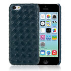 Dark Blue Diamond Weave Design Protective Leather Back Case for Apple iPhone 5c