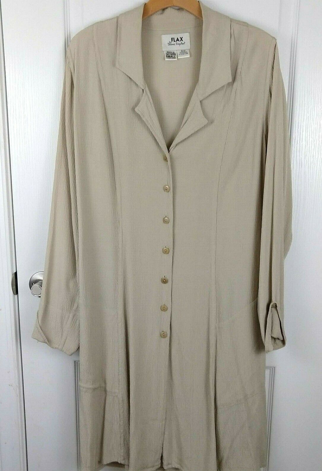 f7456ab011bf Flax Jeanne Engelhart Tan Button Front Long Sleeve High Low Hem ...