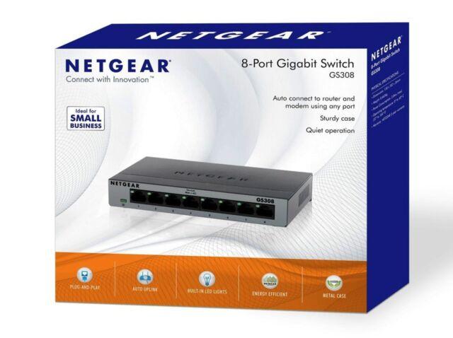 NETGEAR GS308-100UKS 8 Port Gigabit Ethernet 10/100/1000 Mbps Switch
