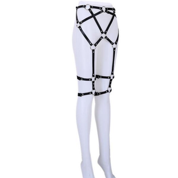 Frauen Goth Punk Leder Harness Strumpf Taille Oberschenkel Ringe Riemen