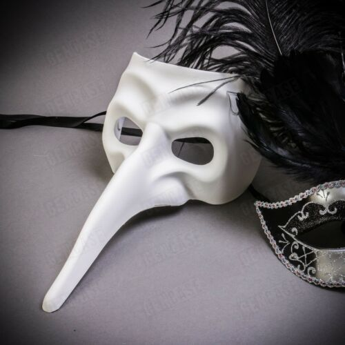 Luxury Black White Silver Couple Masks with Feather Masquerade Cosplay Long Nose