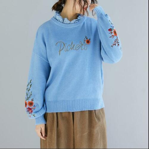Women Girls Sweaters Pullovers Hot Flowers Autumn Fashion Winter