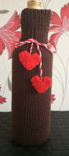 Heart Bottle bag  Brown Gift bag Hand knitted Unique Father's Day Birthday Gift