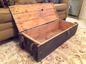 Vintage Army Cannon Ammunition Crate Usa Projectile Wooden Military