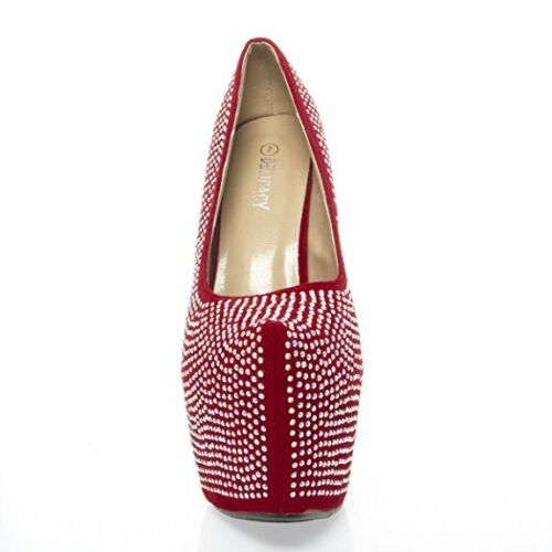 Womens Jeweled Rhinestone Sky High Stiletto Heel Chunky Platform Pump Dress Shoe